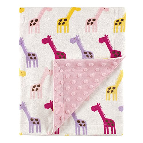 Hudson Baby Printed Mink Blanket with Dotted Backing, Pink Giraffe - 1