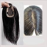 Richair 最高級 10cm*12cm ヘアピース 部分ウィッグ 人毛100% つけ毛 ウィッグ 増毛部分かつら 人毛で制作 白髪隠れ 通気性よく ポイントウィッグ 自然な黒 茶色 2種 (30cm, 1B# 自然な黒)