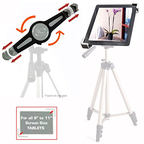 "AccessoryBasics ""Tai-G"" Tablet Tripod Mount (PERFECT for SELFIE AND PHOTOBOTH Recording) with 360° Rotation Swivel Support Joint for Apple iPad 2 3 4 / Air (NOT FOR MINI) Samsung Galaxy Tab Pro Google Nexus Asus VivoTab 9″ 10″ 11″ Screen Tablet (For 9″ to 11.5″ Screen Tablets Only)"