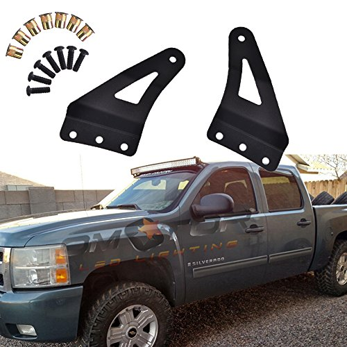 Omotor Upper Windshield Mounting Brackets(52inch Curved LED Light Bar) for 2007-2013 4wd/2wd Chevrolet Silverado 1500/2500hd/ 3500hd Pickup; 4wd/2wd 2007-2013 GMC Sierra 1500/2500hd/3500hd Pickup (Low Profile Off Road Led compare prices)