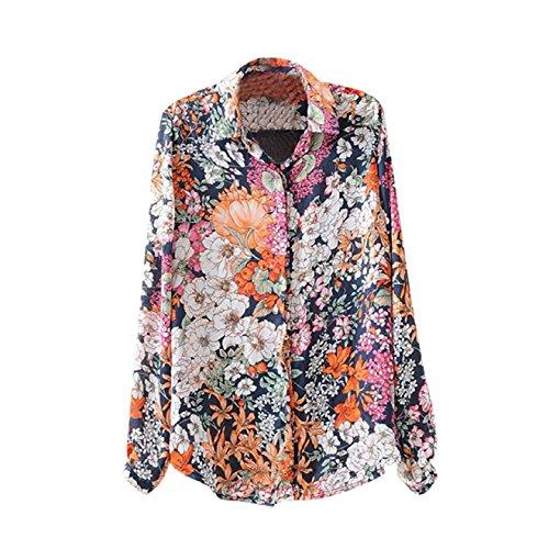 Aokdis Women Retro Print Blouse Long Sleeve Top Shirt Lady Casual Shirt Tops (Xl)
