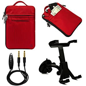 """(Red) VanGoddy Hydei Bag Case for RCA / SVP 7"""" Tablet + Windshield Mount + Auxiliary Cable at Electronic-Readers.com"""