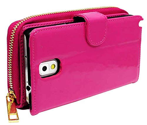 Images for myLife Hot Pink {Zipper Pouch Design} Faux Leather (Card, Cash and ID Holder + Magnetic Closing) Slim Wallet for Galaxy Note 3 Smartphone by Samsung (External Textured Synthetic Leather with Magnetic Clip + Internal Secure Snap In Closure Hard Rubberized Bumper Holder)