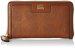 Orla Kiely Sixties Stem Punched Leather Big Zip Wallet,Hazel,One Size
