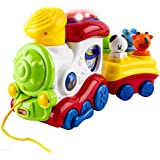 WolVol 2 piece Train Toy with Lights & Music and train Whistle Sounds, with 4 detachable Figures and Little Pull Along String