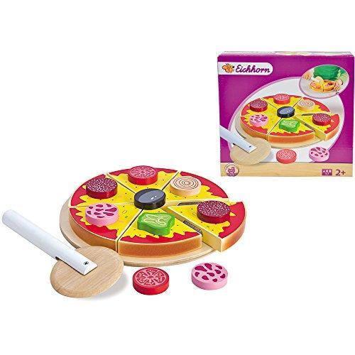 Eichhorn Holz Pizza, 17 teiliges Set mit Teller