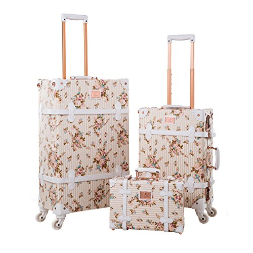 """13"""" 20"""" 26"""" Women Floral Pu Leather 3 Pieces Travel Luggage Set with Spinner Wheels 1"""