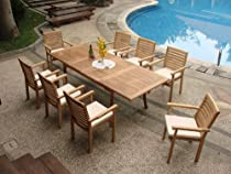 "Big Sale Grade-A Teak Wood Luxurious Dining Set Collections: 9 Pc - 94"" Rectangle Table and 8 Hari Stacking Arm Chairs"