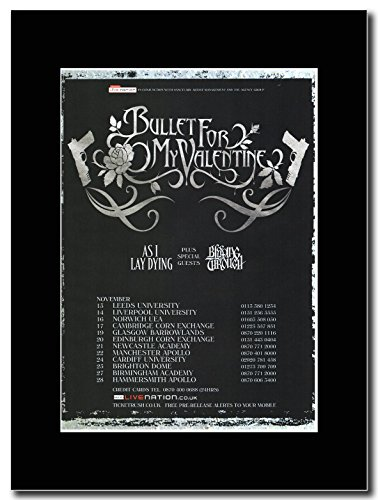 Bullet for my Valentine UK-Tour date 2006 Magazine Promo su un supporto, colore: nero