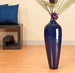 24 in. Bamboo Pod Floor Vase - Blue (Floral Not Included)