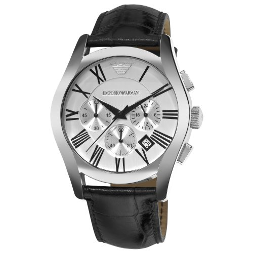 Emporio Armani Men's AR0669 Chronograph Silver Dial Black Leather Watch