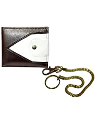 Apki Needs Sweet Dual Colored Men's Wallet And Golden Chain Keychain Combo
