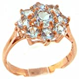 Luxury Solid Rose Gold Aquamarine Cluster Ring - Size S - Finger Sizes J to Z Available