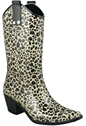 Capelli New York Shiny Baby Leopard Cowboy Ladies Rubber Rain Boot