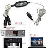GIZGA® New USB IN OUT MIDI Interface Cable Converter PC to Music Keyboard Adapter Cord