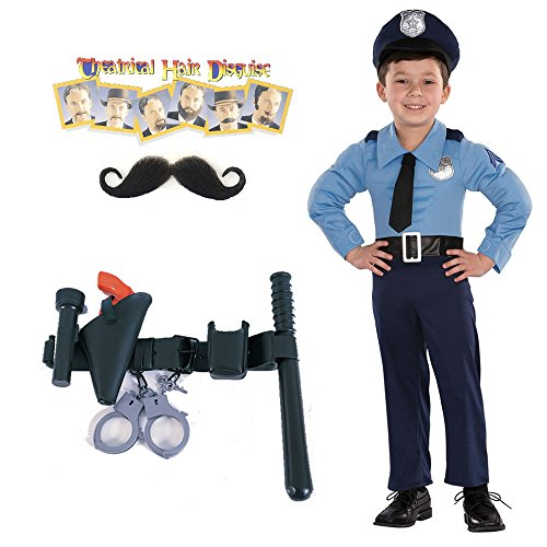 Police Officer Toddler Costume, Police Officer Belt, Handlebar Moustache (2T-4T)