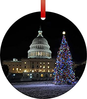 United States Capitol-Washington D.C.-on Christmas Eve-Double-Sided Round Shaped Flat Aluminum Christmas Holiday Hanging Tree Ornament. Made in the USA!