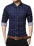 localmode Men's 100% Cotton Long Sleeve Plaid Slim Fit Button Down Dress Shirt, Navy Blue, Medium