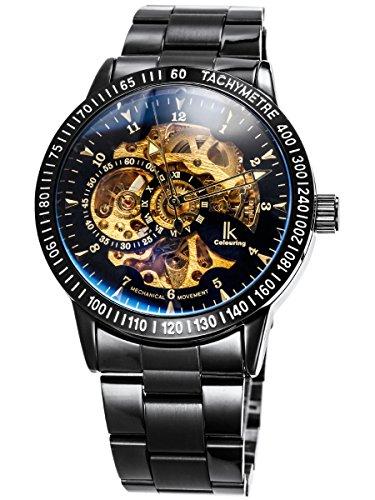 Alienwork-IK-mechanische-Automatik-Armbanduhr-Skelett-Automatikuhr-Uhr-schwarz-Edelstahl-98226-12