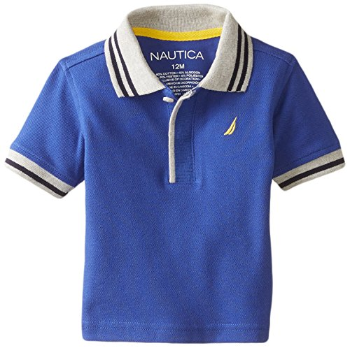 Nautica Baby Boys Short Sleeve Solid Pique Tipped Collar Polo, Blue, 12 Months