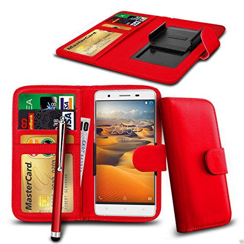 n4u-onliner-clip-on-pu-leather-wallet-case-cover-pen-for-aldi-medion-life-e5005-5-red
