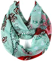 Spring Garden Love Colorful Floral Pattern Infinity Scarf (Mint)