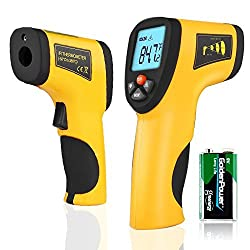 Flexzion Instant Read Thermometer Temperature Gun IR Infrared Digital Tool Non-Contact Handheld with Laser Sight Accurate LCD Display 9v Battery Yellow