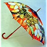 """Tiffany"" Style Full Size Stick Art Umbrella with Automatic Push Button Opening, Great Gift Idea ~ Fine Art Umbrellas"