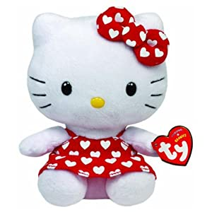 "TY Beanies - Hello Kitty 6"" Red Dress With White Hearts - Hello Kitty"