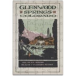 Glenwood Springs, Colorado - Health Resort #2 - Vintage Travel Advertisement (8x12 Premium Acrylic Puzzle, 63 Pieces)