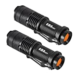 AMASKY(TM) CREE Q5 LED Mini 7W Flashlight Torch, Adjustable Focus, Super Bright 500 Lumen, Skid-proof & splashproof design. (2 in Pack)