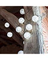 Offre Spéciale : Lot de 2 x Guirlandes Lumineuses LED Solaires avec 10 Lampions Chinois Blancs de Lights4fun