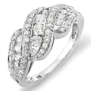 1.00 Carat (ctw) 14k White Gold Round Diamond Ladies Cocktail Ring 1 CT (Size 9)