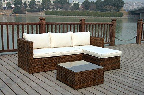 Neu Rattan Flechtweide Wintergarten Outdoor Gartenmöbel Set Ecke Sofa Tisch – Licht gemischt braun günstig kaufen