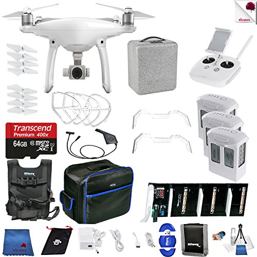 DJI Phantom 4 Sky High Bundle Includes: DJI Phantom 4 Drone + 3 Batteries (total) + Carry Vest + 64 GB Memory Card + Controller + Foam Case + More
