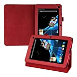Kwmobile® Elegant leather case for Acer Iconia B1-710 / B1-711 in Red with convenient STAND FEATURE