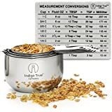 Measuring Cups Stainless Steel 6 Piece Stackable Set with Measurement Conversions Magnet