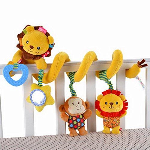 Culla per neonato, motivo: Super Soft-Cartoons Lion scimmia Peluche, Baby Activity Toys per seggiolino per auto alla culla e passeggino Toys-Che per bavaglino, 0-36 mesi per bambino