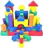 Non-Toxic 68 Piece foam Wonder Blocks for Children w/ Polka Dot Hamper - Non-Recycled Quality, Waterproof, Soft, Bright, Safe & Quiet