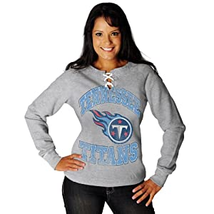 NFL Womens Tennessee Titans Ot Queen III Long Sleeve Raglan Open Neck Fleece (Steel Heather/Antique White, Medium)