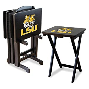 NCAA LSU Tigers TV Snack Trays with Storage Rack (Set of 4) by Imperial