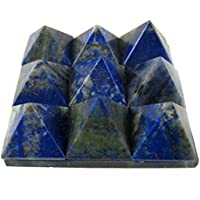 Eshoppee Blue Lapis Lazuli Set Of 9 Small Stone Pyramids On A Glass Plate, Healing Crystal