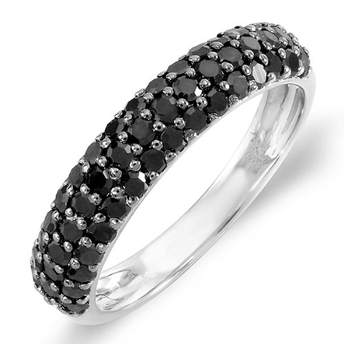 1.00 Carat (ctw) Sterling Silver Black Round Diamond Ladies Wedding Anniversary Band Stackable Ring