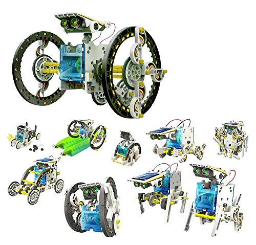 iLoonger 14 in 1 Solar Robot Assembly Rechargeable Kids Toy Kit Educational Gift a Wagging-tail Dog Running Beetle Walking Crab Surfer Speedster Zombie Chaser (Solar Robot Toy compare prices)