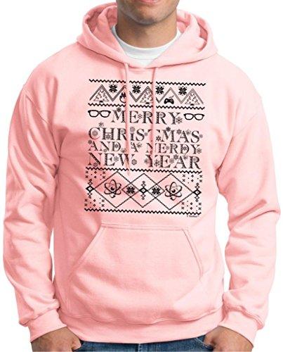 And A Nerdy New Year, Ugly Christmas Sweater Hoodie Sweatshirt Medium Light Pink