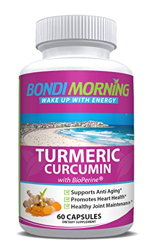 Turmeric Curcumin Capsules with Bioperine - 100% Natural Joint Support and Pain Relief Supplement, GMO Free, 60 Capsules, Made in USA (Kratom Powder Extract compare prices)
