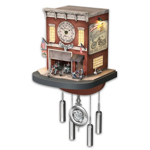 Cuckoo Clock With Lights, Sound, Motion: Freedom Choppers Motorcycle Garage - By The Bradford Exchange