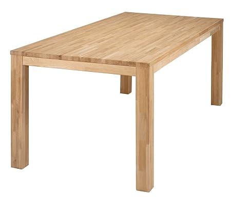 Table à manger rectangulaire chêne massif pieds 8x8cm, H 78 x L 200 x P 90 cm - PEGANE -