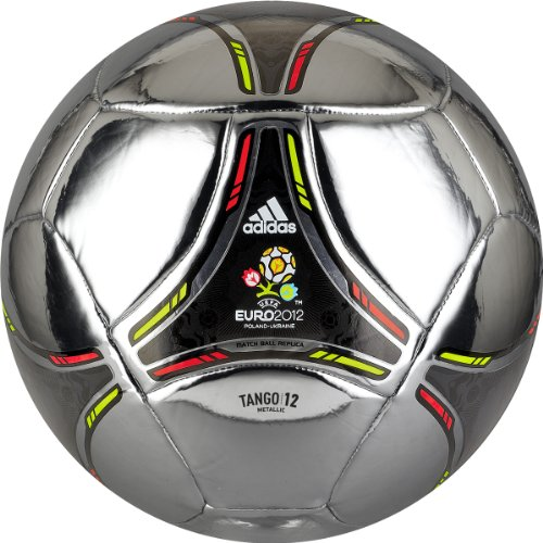Adidas Euro 2012 Metallic Soccer Ball (Metallic Silver, Black, Electricity Yellow/ High Energy Orange, Size 5)