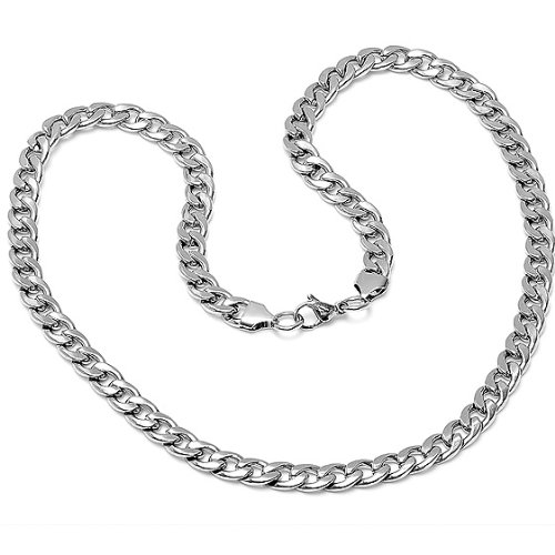 Solid Stainless Steel Chain Link Mens Necklace 24 inches
